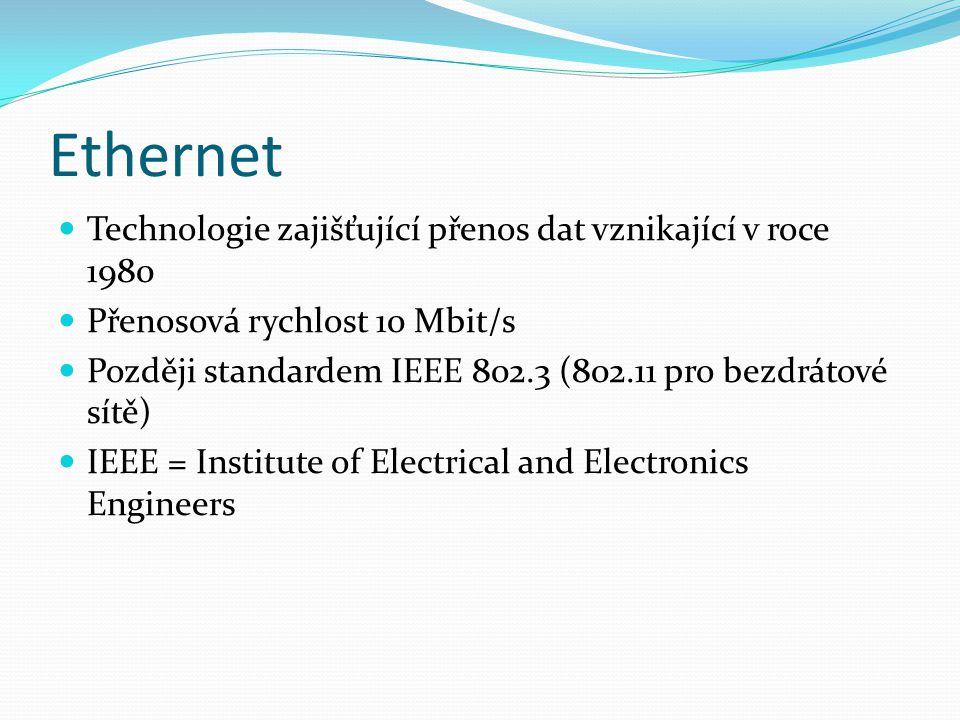 Ethernet Technologie zajišťující přenos dat vznikající v roce 1980