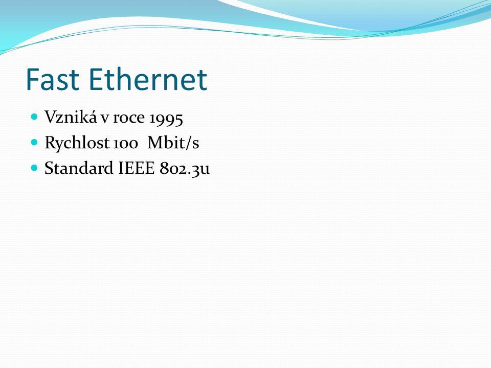 Fast Ethernet Vzniká v roce 1995 Rychlost 100 Mbit/s