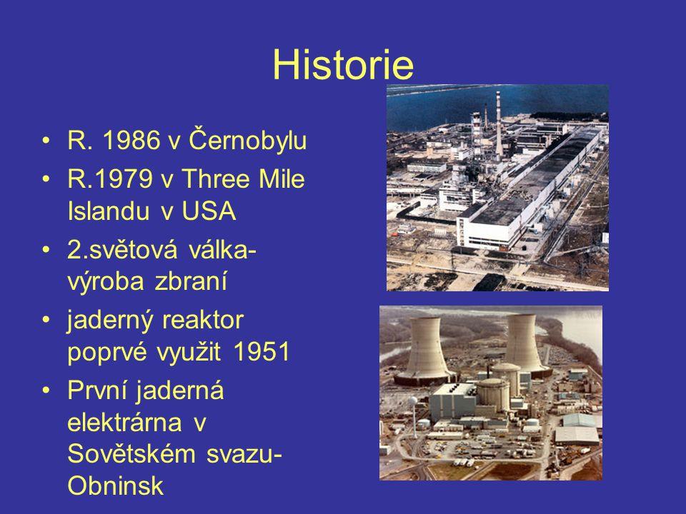 Historie R. 1986 v Černobylu R.1979 v Three Mile Islandu v USA