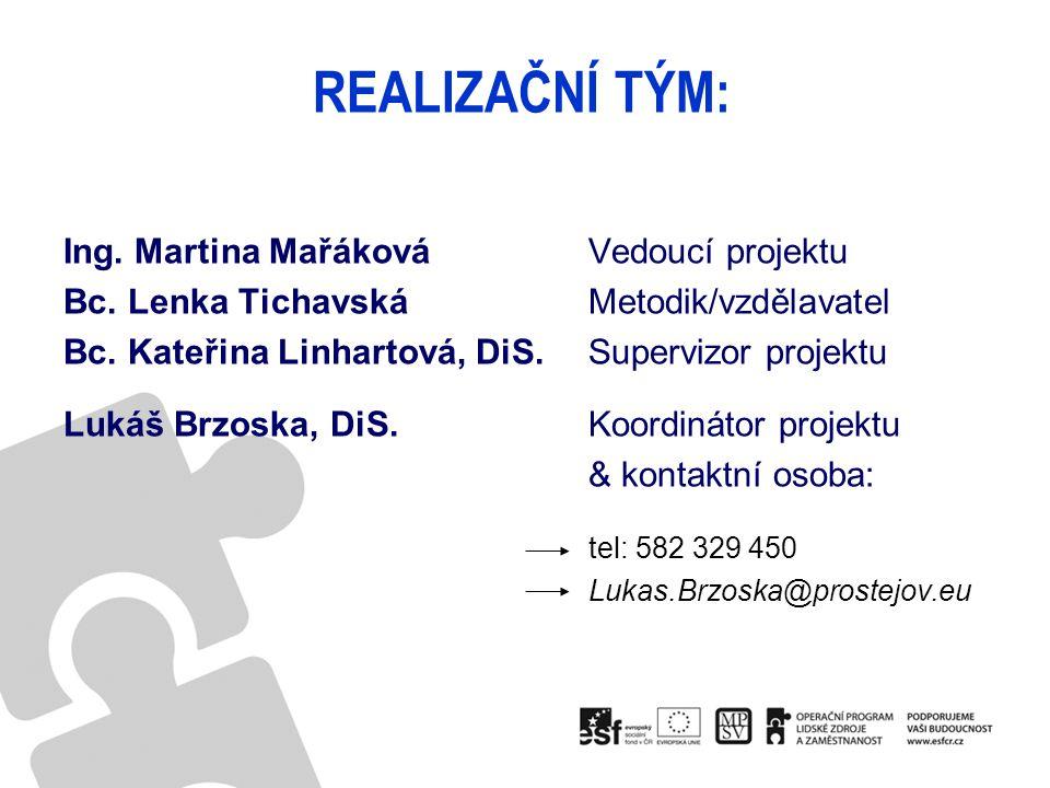 REALIZAČNÍ TÝM: Ing. Martina Mařáková Vedoucí projektu