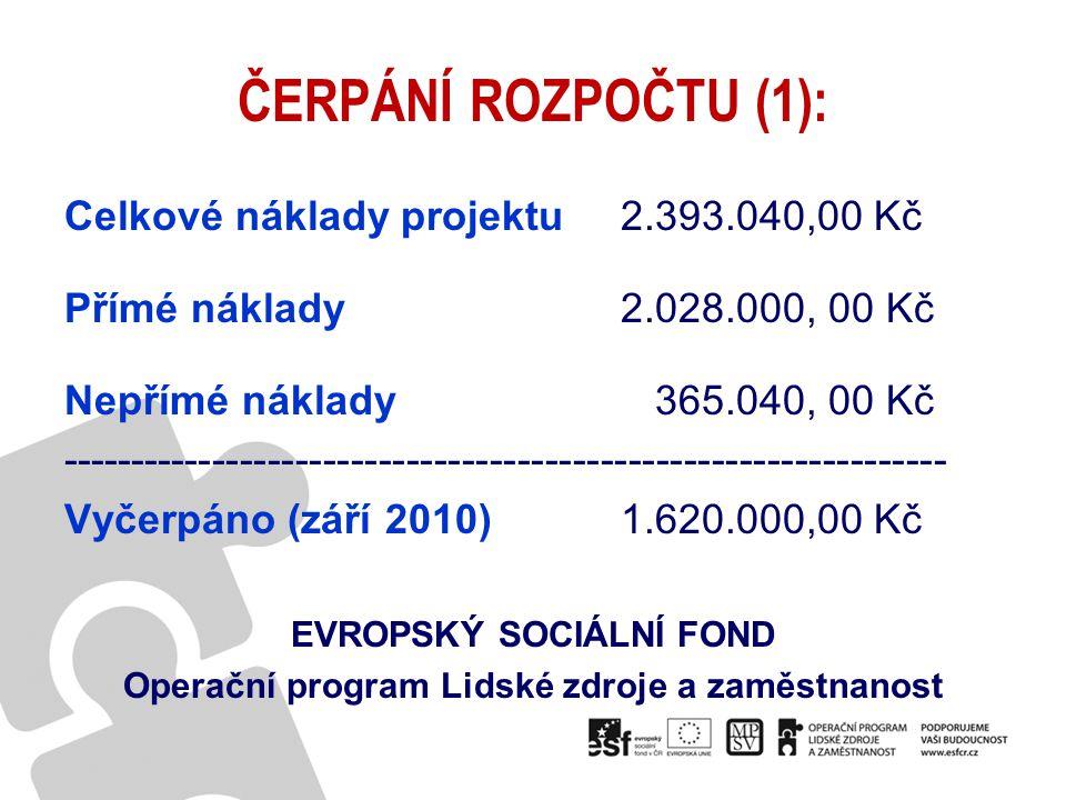 EVROPSKÝ SOCIÁLNÍ FOND Operační program Lidské zdroje a zaměstnanost