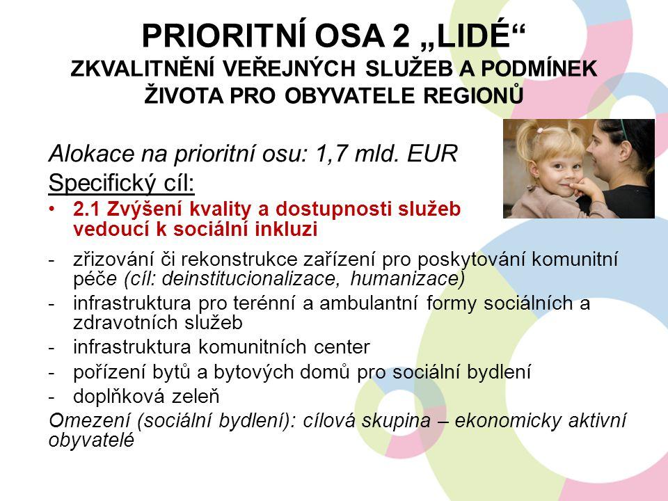"""Prioritní osa 2 """"LIDÉ Zkvalitnění veřejných služeb a podmínek života pro obyvatele regionů"""