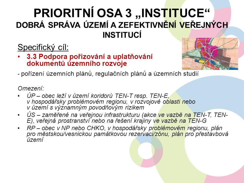 """Prioritní osa 3 """"Instituce dobrá správa území a zefektivnění veřejných institucí"""