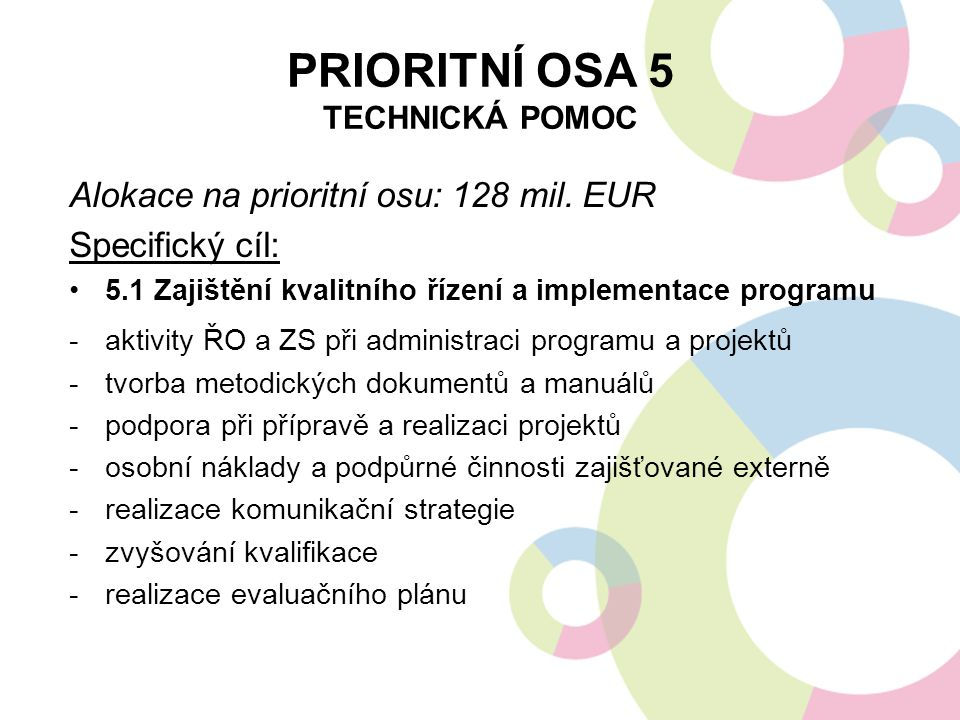 Prioritní osa 5 Technická pomoc