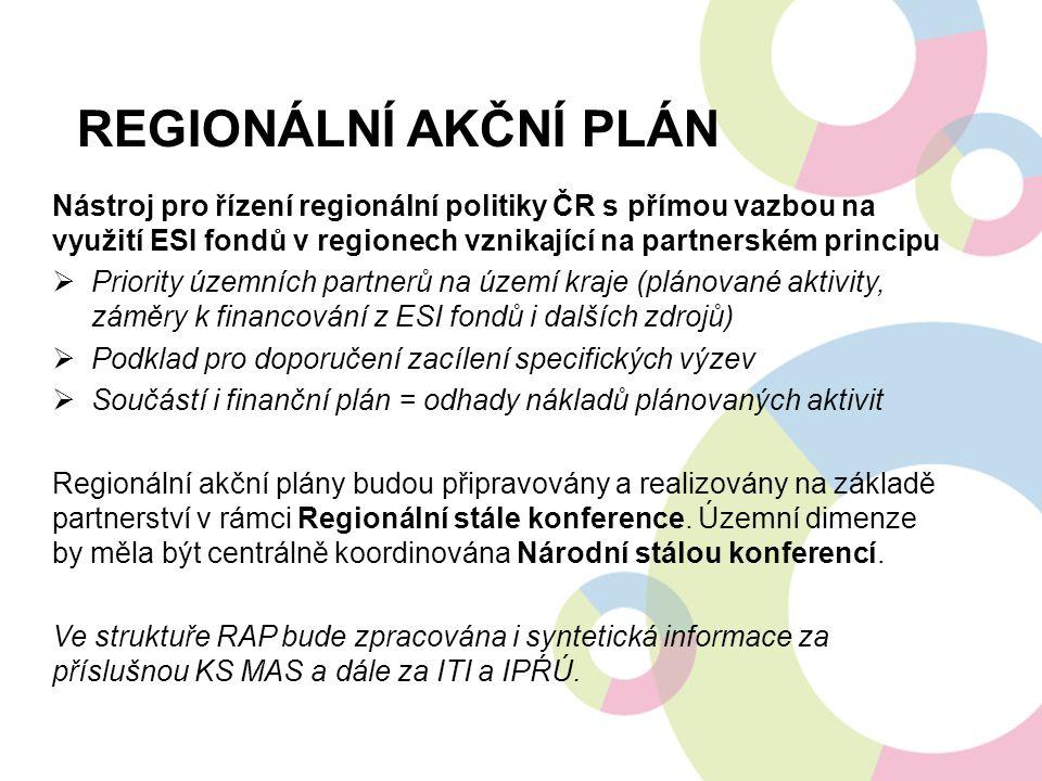 Regionální akční plán Nástroj pro řízení regionální politiky ČR s přímou vazbou na využití ESI fondů v regionech vznikající na partnerském principu.