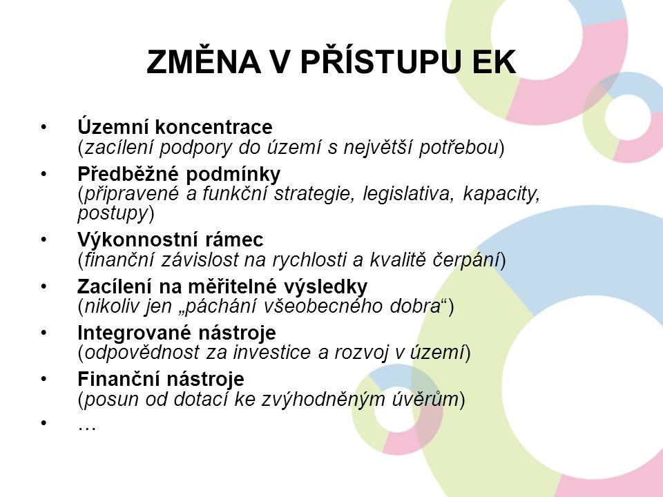Změna v přístupu EK Územní koncentrace (zacílení podpory do území s největší potřebou)