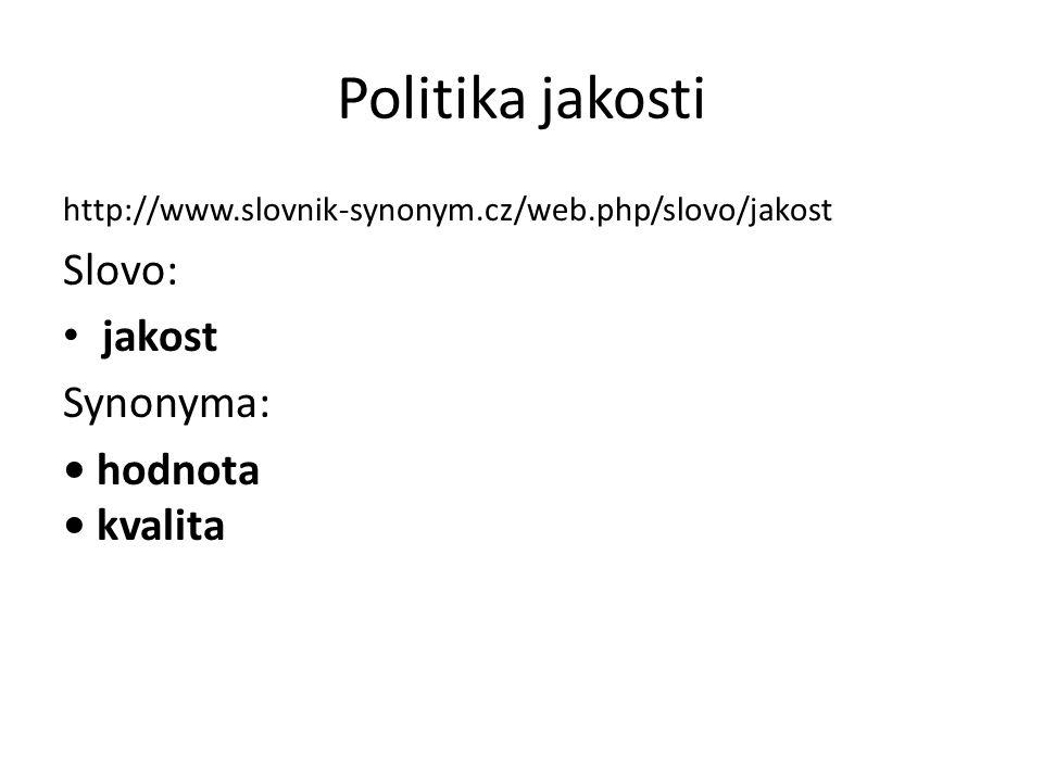 Politika jakosti Slovo: jakost Synonyma: • hodnota • kvalita