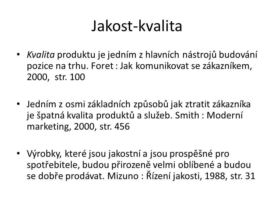 Jakost-kvalita Kvalita produktu je jedním z hlavních nástrojů budování pozice na trhu. Foret : Jak komunikovat se zákazníkem, 2000, str. 100.