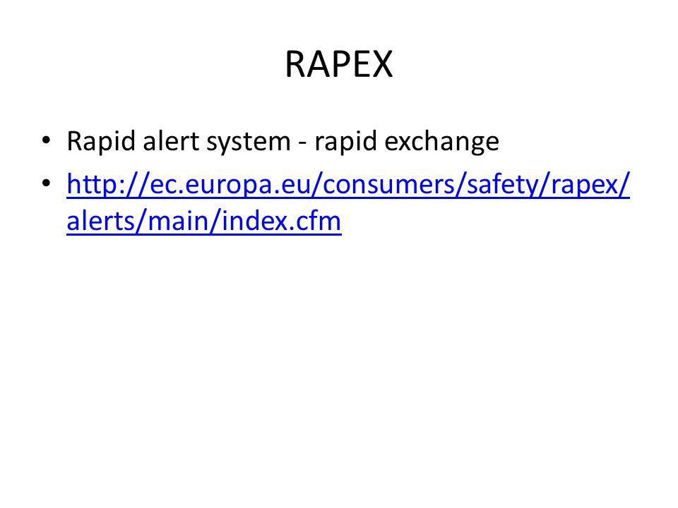 RAPEX Rapid alert system - rapid exchange