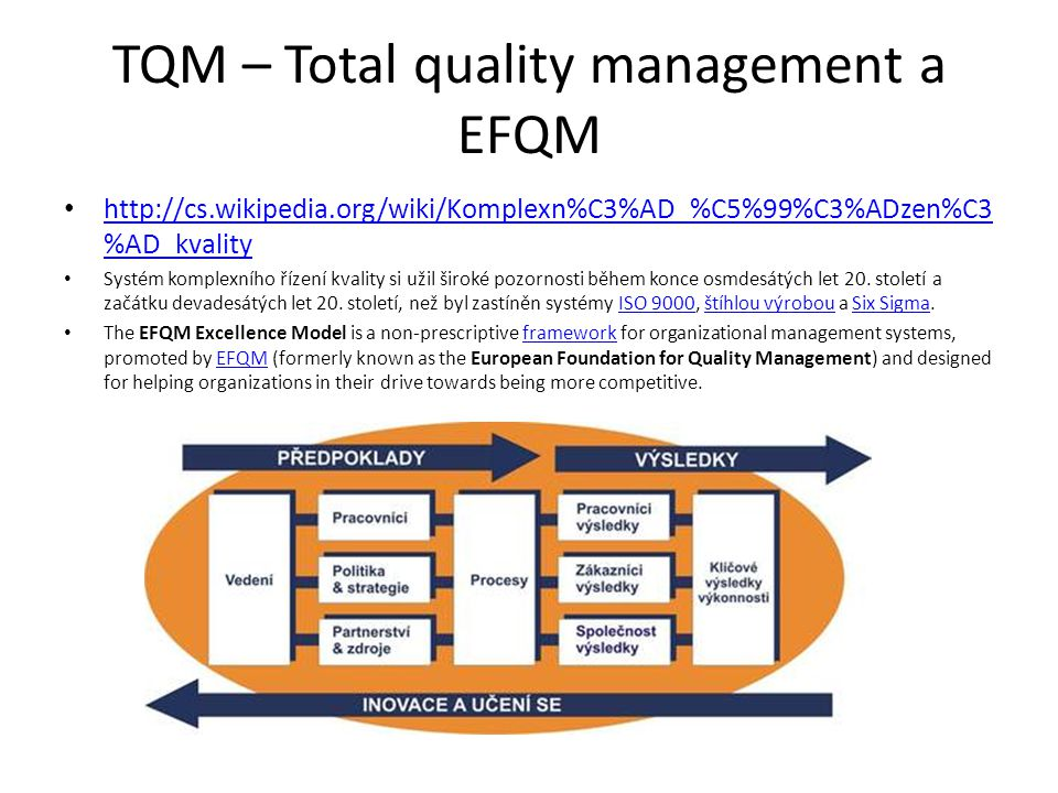 TQM – Total quality management a EFQM