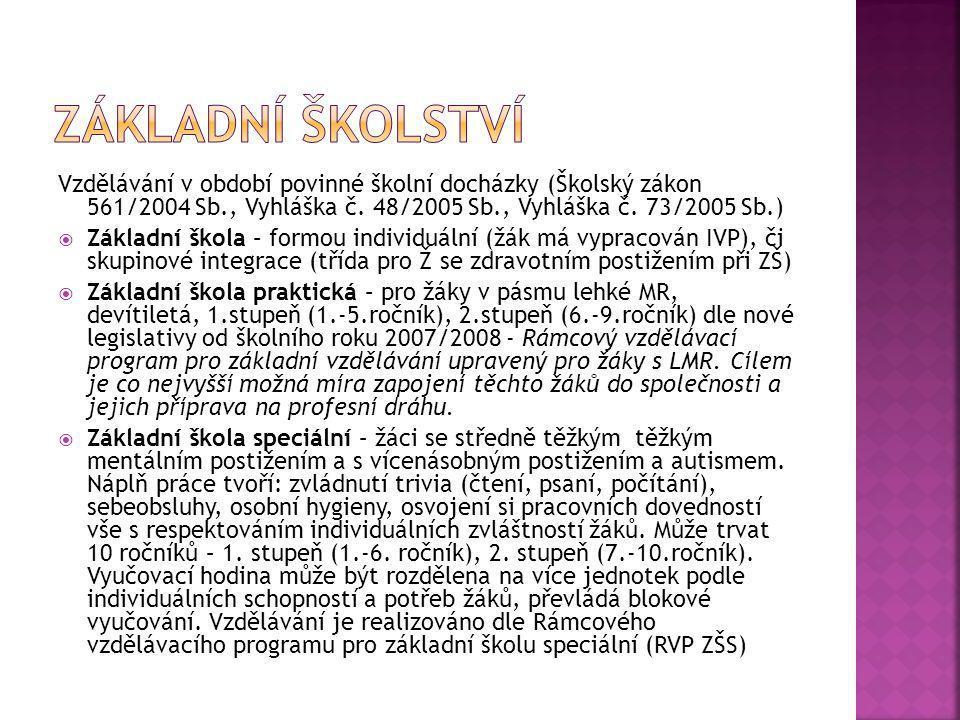 Základní školství Vzdělávání v období povinné školní docházky (Školský zákon 561/2004 Sb., Vyhláška č. 48/2005 Sb., Vyhláška č. 73/2005 Sb.)