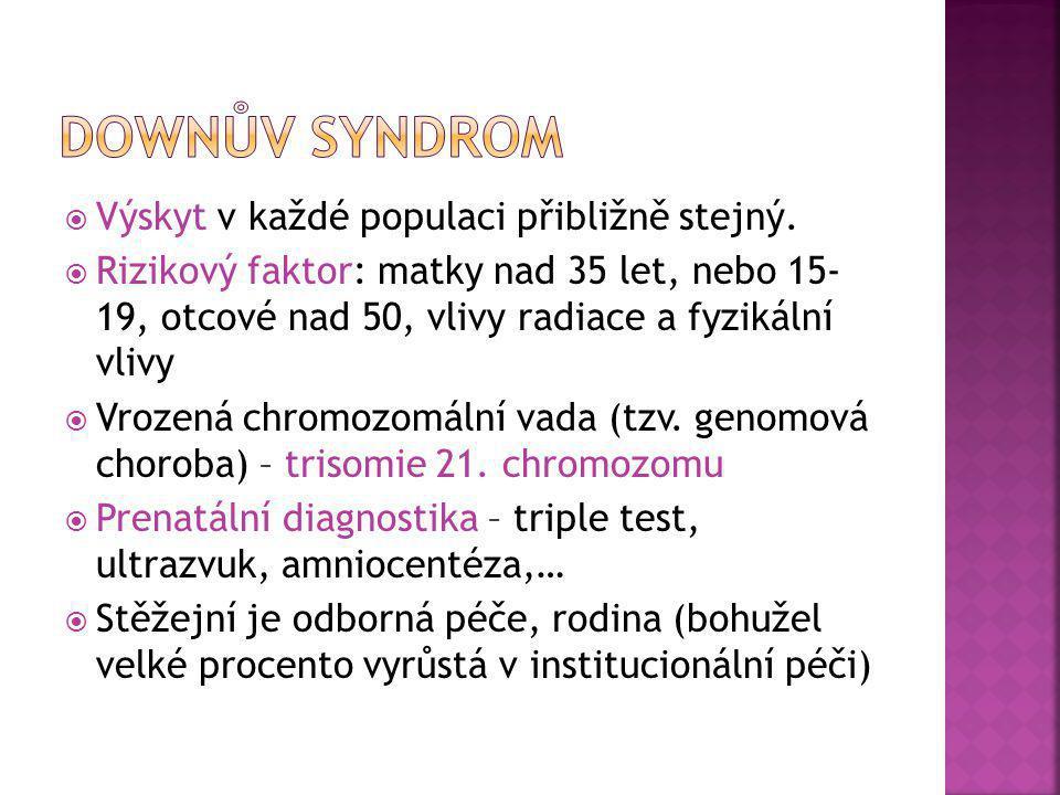 Downův syndrom Výskyt v každé populaci přibližně stejný.