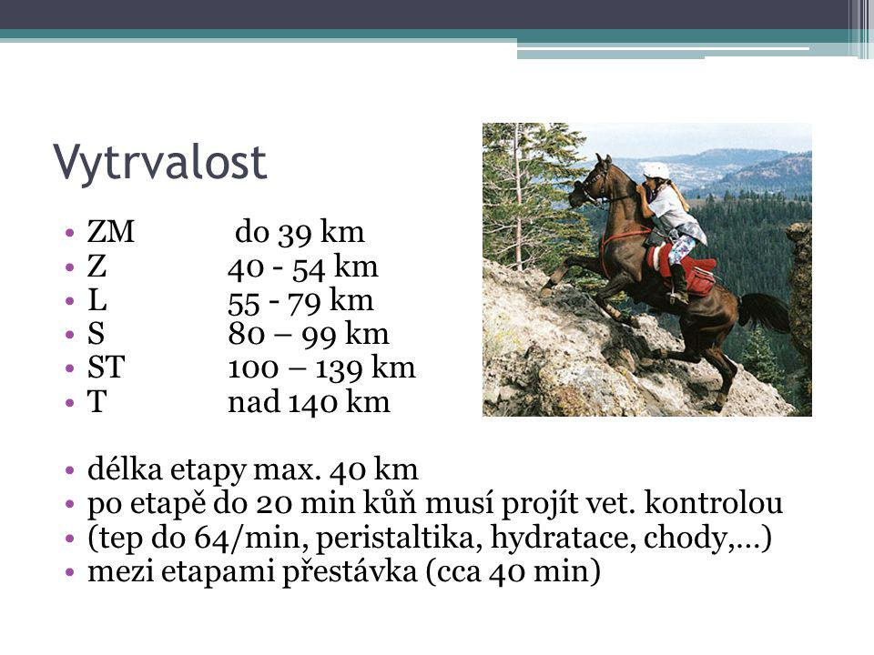 Vytrvalost ZM do 39 km Z 40 - 54 km L 55 - 79 km S 80 – 99 km