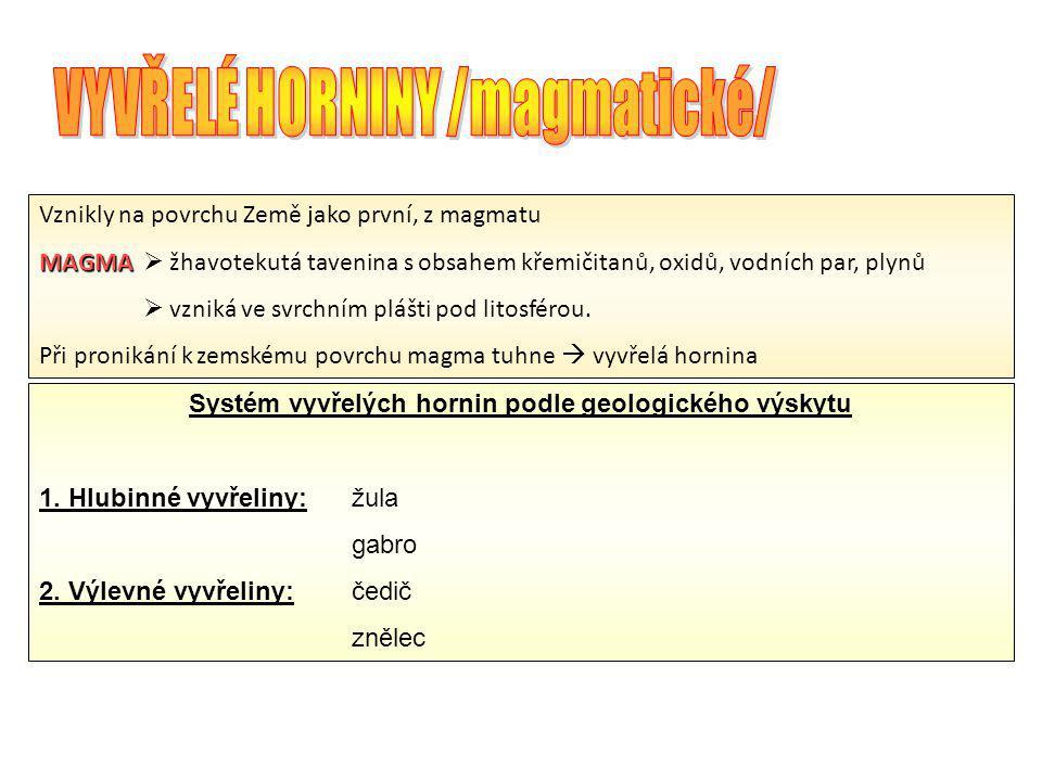 VYVŘELÉ HORNINY /magmatické/