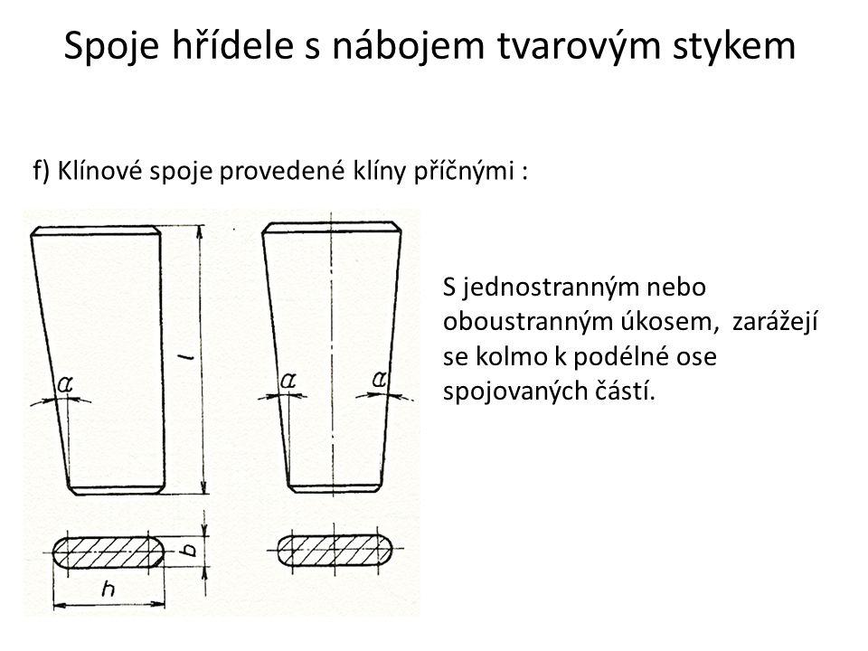 Spoje hřídele s nábojem tvarovým stykem