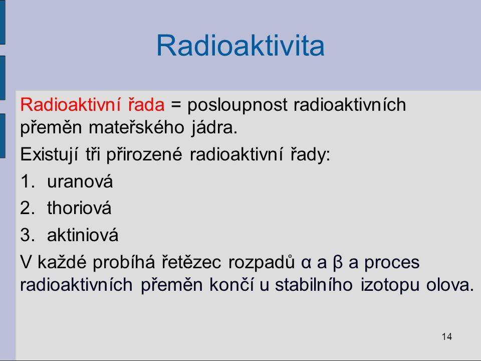 Radioaktivita Radioaktivní řada = posloupnost radioaktivních přeměn mateřského jádra. Existují tři přirozené radioaktivní řady: