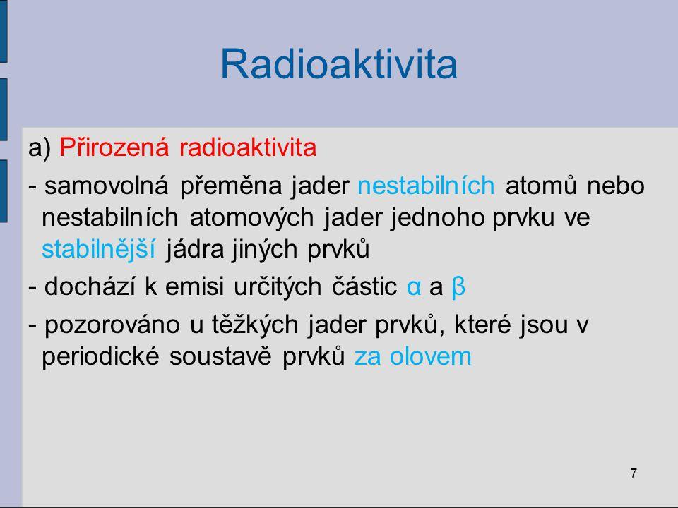 Radioaktivita a) Přirozená radioaktivita