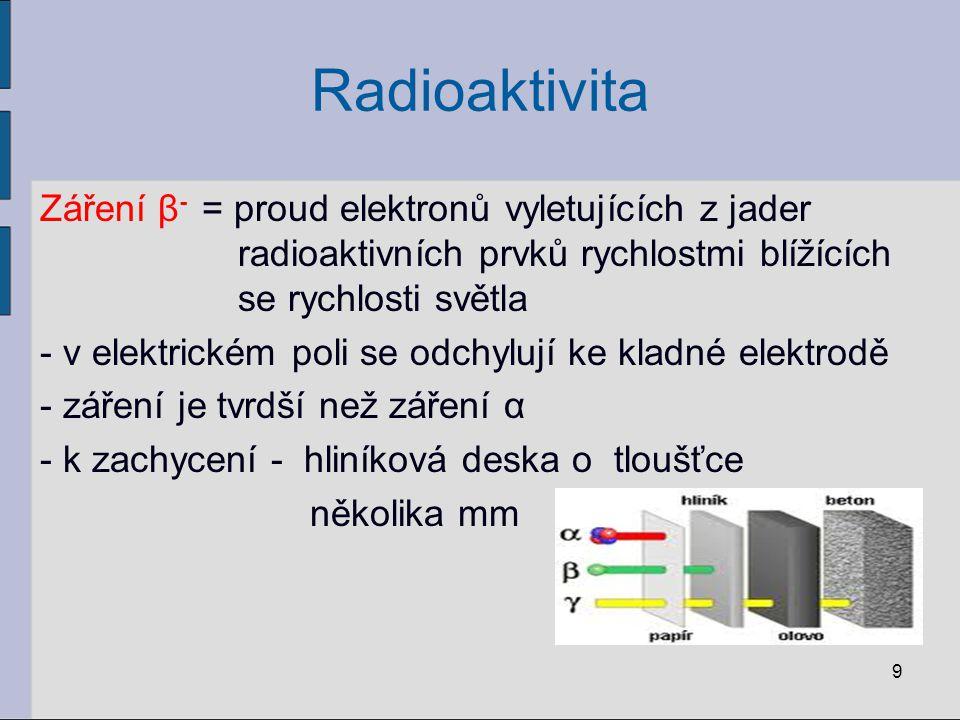 Radioaktivita Záření β- = proud elektronů vyletujících z jader radioaktivních prvků rychlostmi blížících se rychlosti světla.
