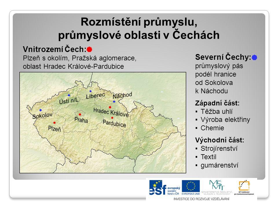 Rozmístění průmyslu, průmyslové oblasti v Čechách