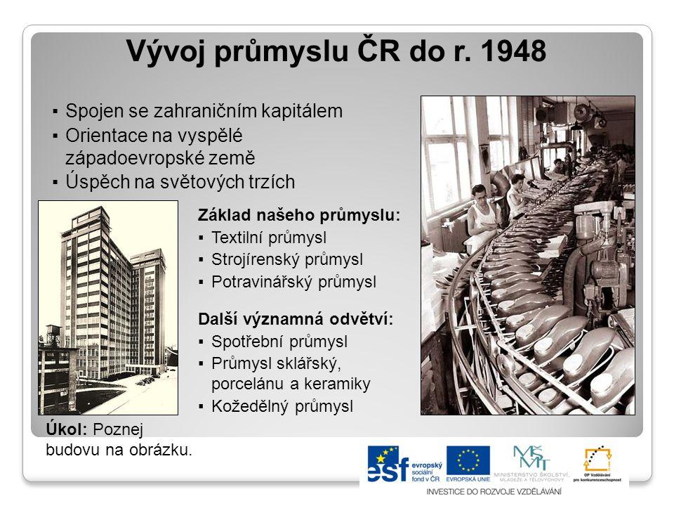 Vývoj průmyslu ČR do r. 1948 Spojen se zahraničním kapitálem