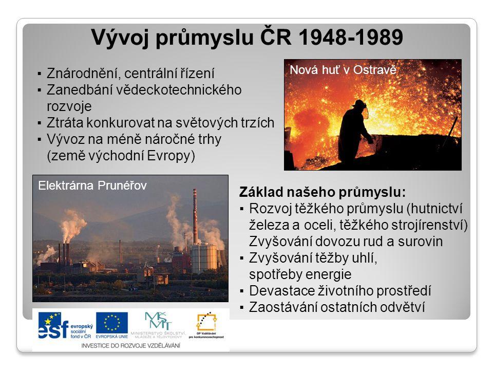 Vývoj průmyslu ČR 1948-1989 Znárodnění, centrální řízení