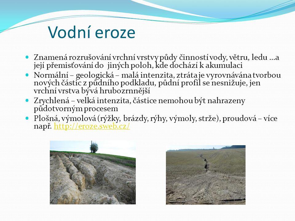Vodní eroze Znamená rozrušování vrchní vrstvy půdy činností vody, větru, ledu …a její přemisťování do jiných poloh, kde dochází k akumulaci.