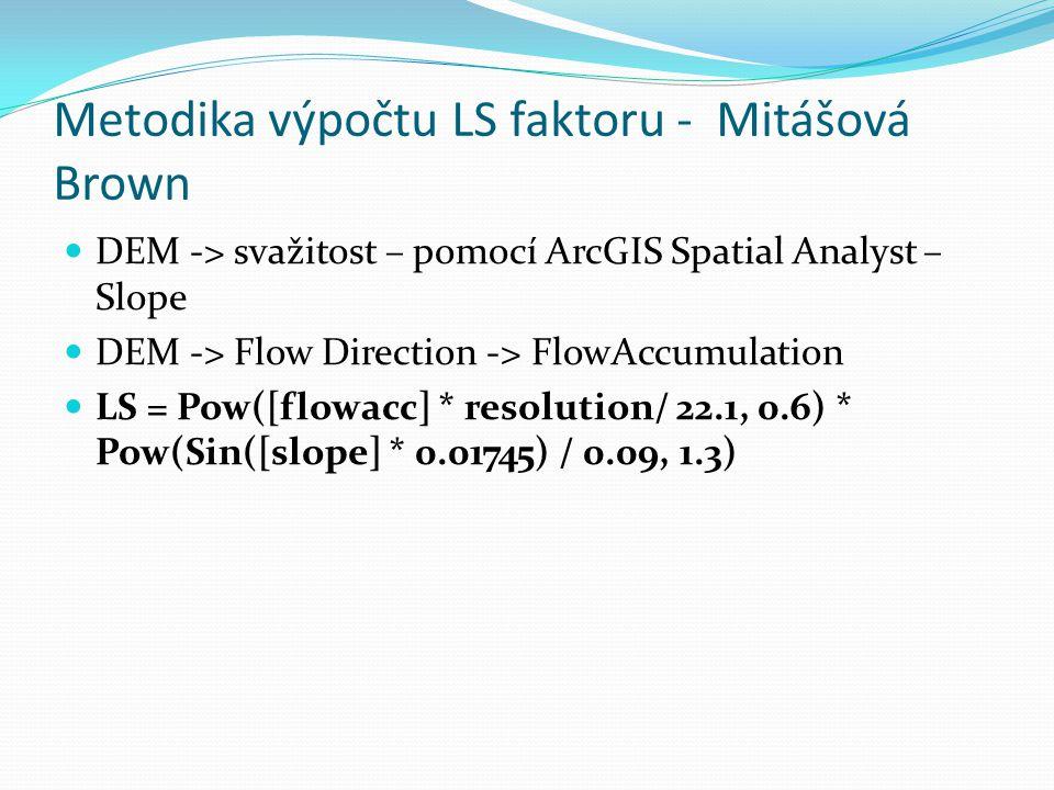Metodika výpočtu LS faktoru - Mitášová Brown