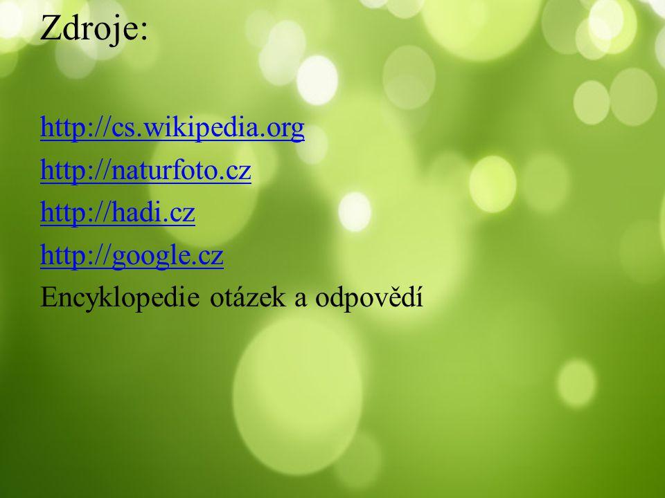 Zdroje: http://cs.wikipedia.org http://naturfoto.cz http://hadi.cz
