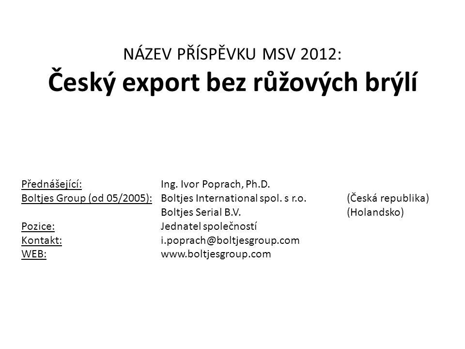 NÁZEV PŘÍSPĚVKU MSV 2012: Český export bez růžových brýlí