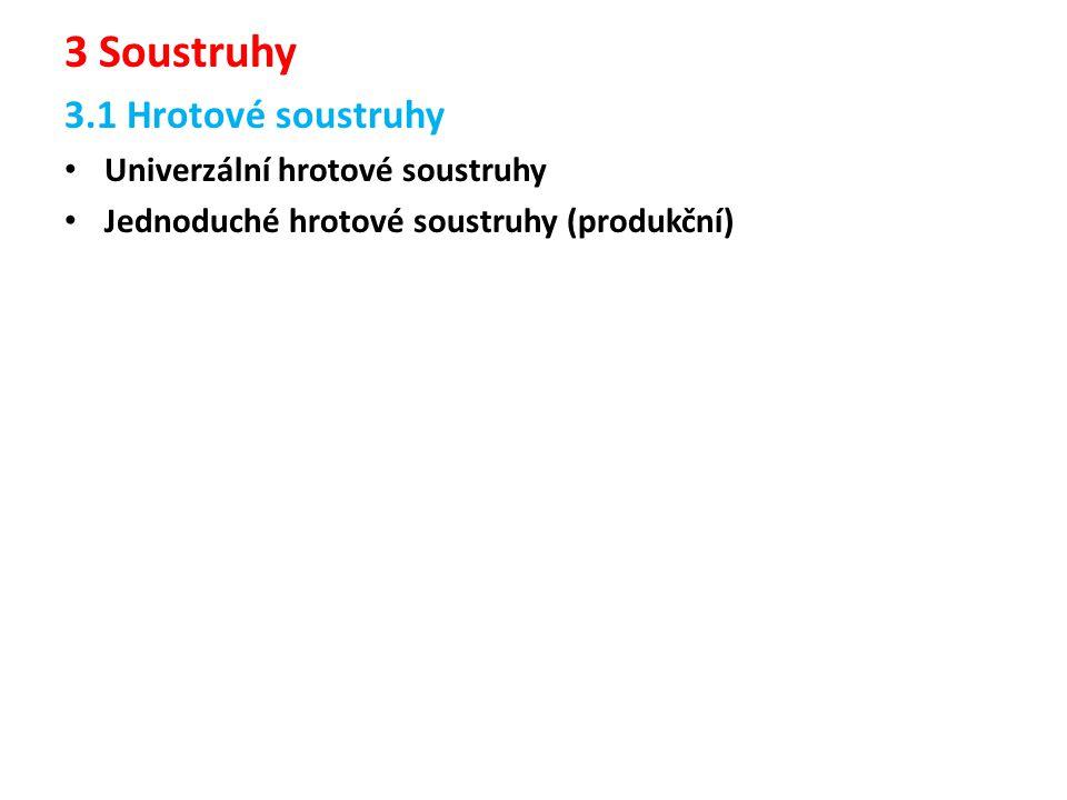 3 Soustruhy 3.1 Hrotové soustruhy Univerzální hrotové soustruhy