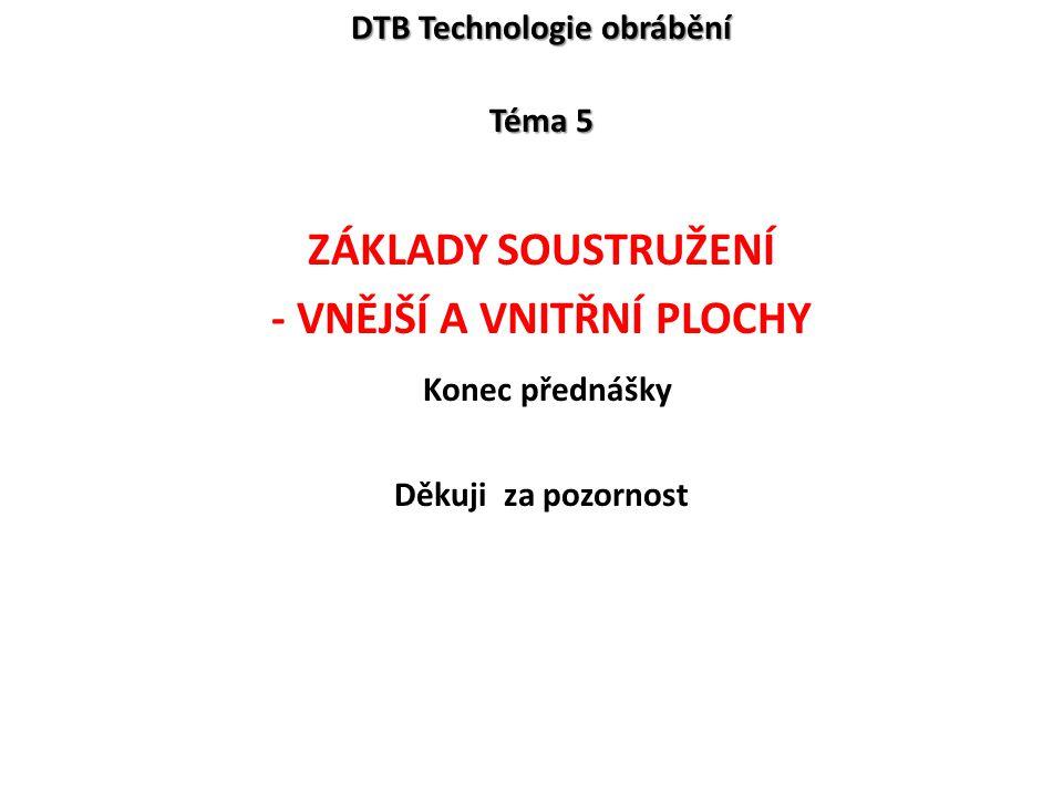 DTB Technologie obrábění - Vnější a vnitřní plochy