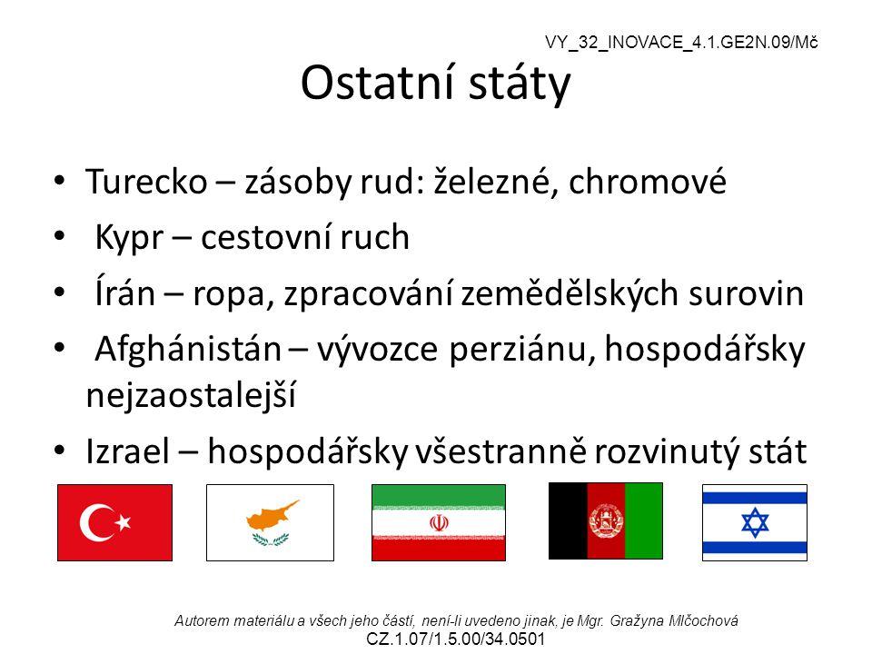 Ostatní státy Turecko – zásoby rud: železné, chromové