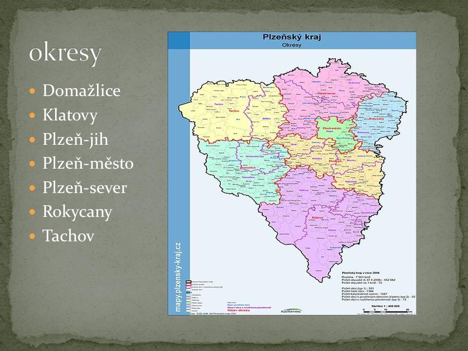 okresy Domažlice Klatovy Plzeň-jih Plzeň-město Plzeň-sever Rokycany