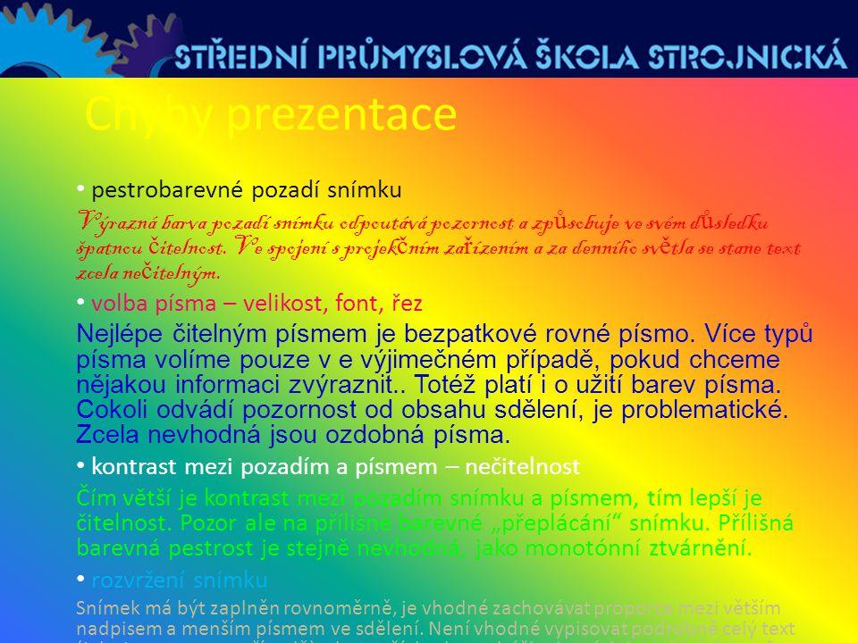 Chyby prezentace pestrobarevné pozadí snímku