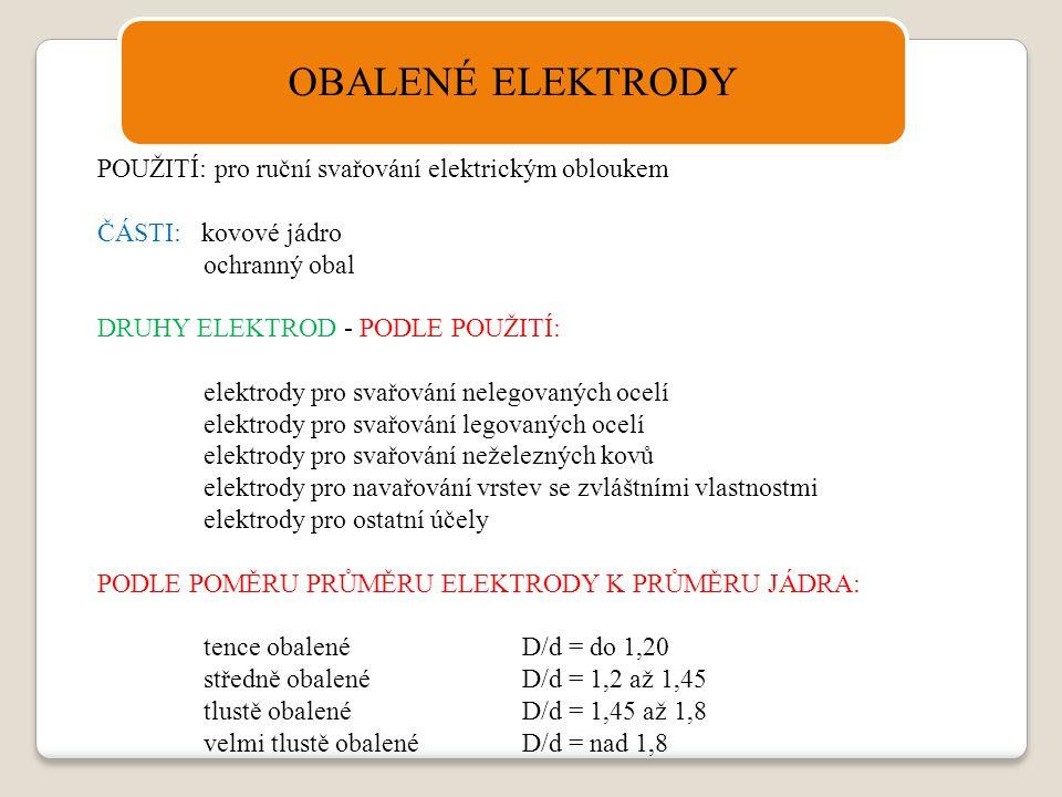 OBALENÉ ELEKTRODY POUŽITÍ: pro ruční svařování elektrickým obloukem