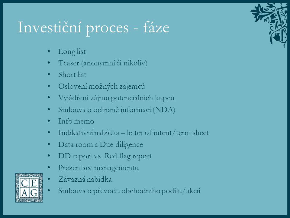 Investiční proces - fáze