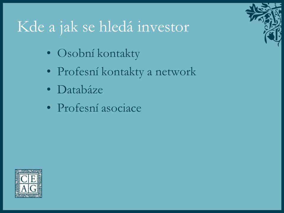 Kde a jak se hledá investor