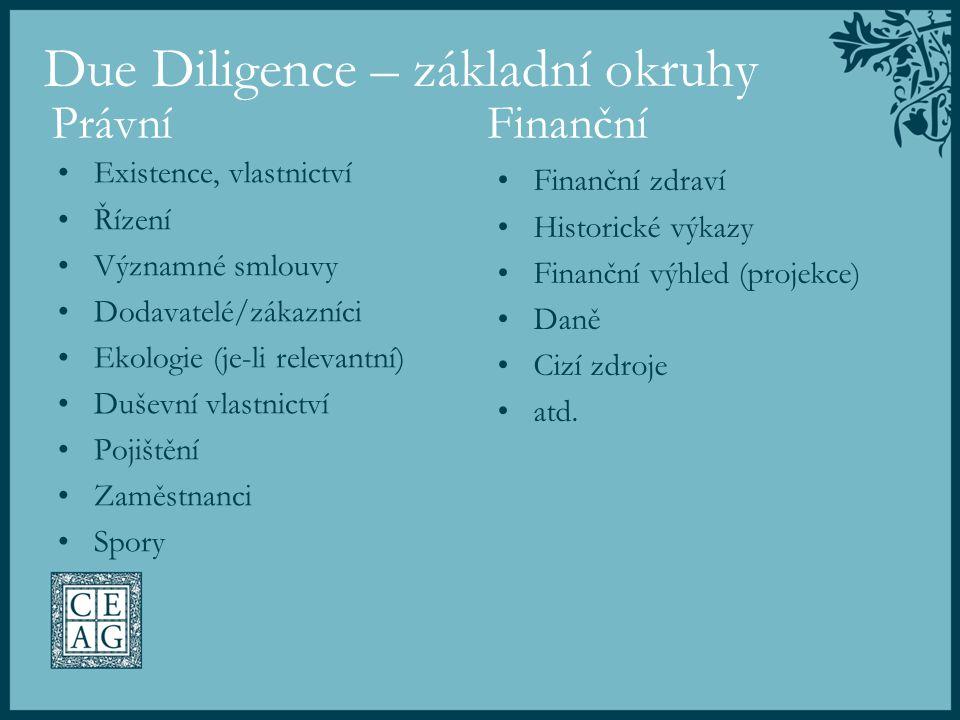 Due Diligence – základní okruhy