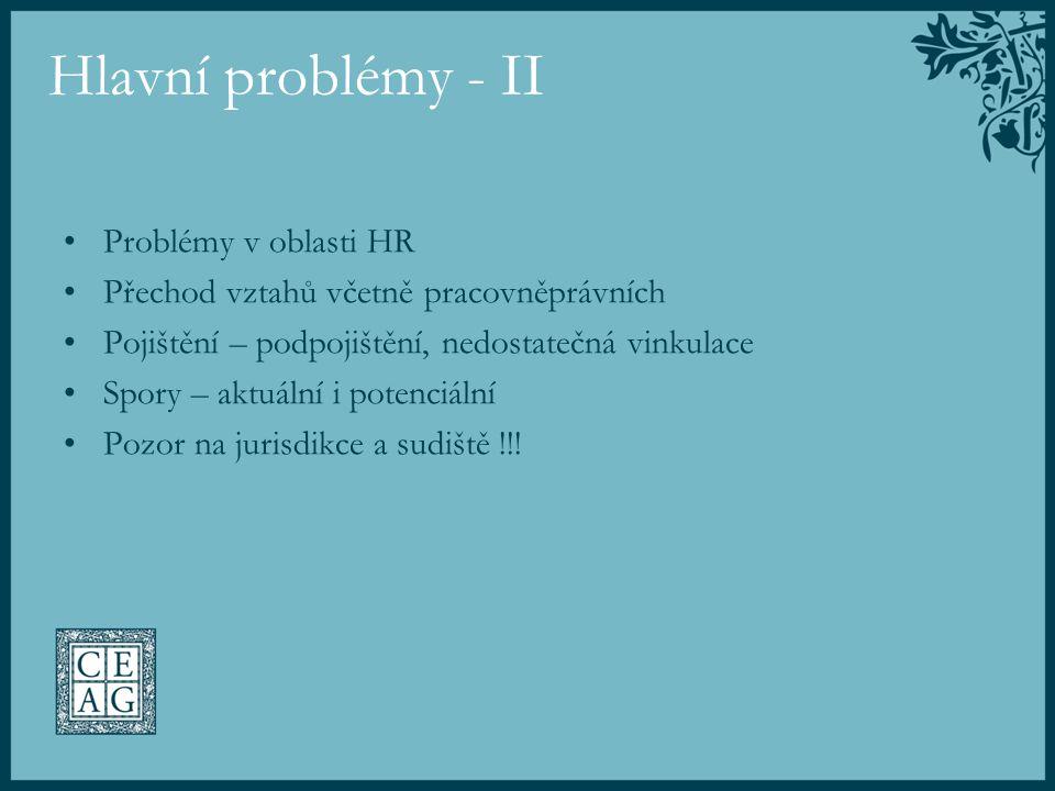 Hlavní problémy - II Problémy v oblasti HR