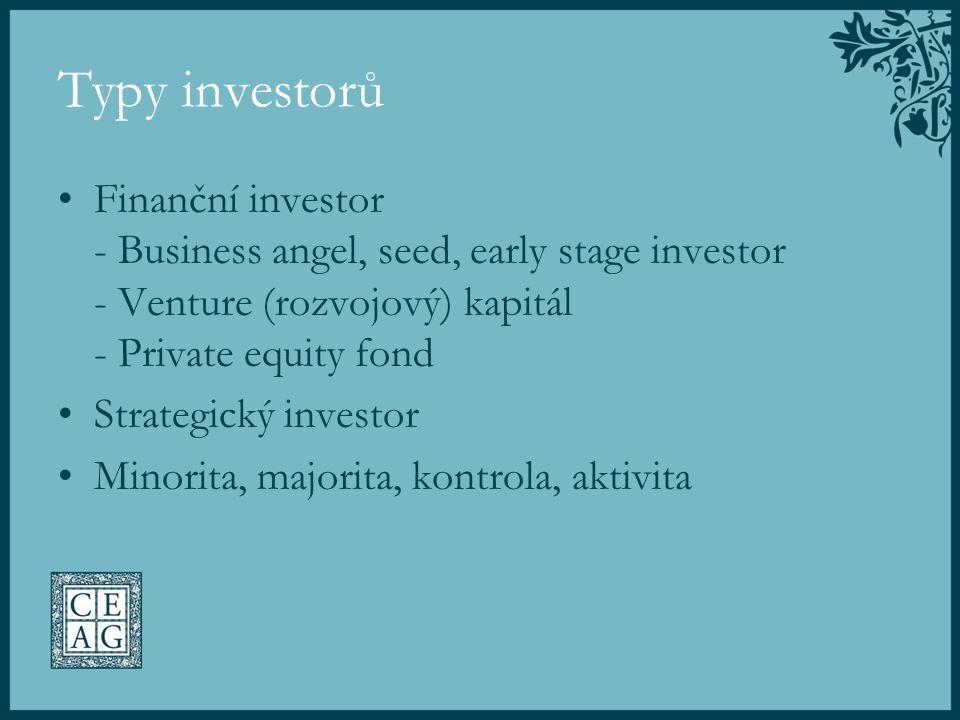 Typy investorů Finanční investor - Business angel, seed, early stage investor - Venture (rozvojový) kapitál - Private equity fond.
