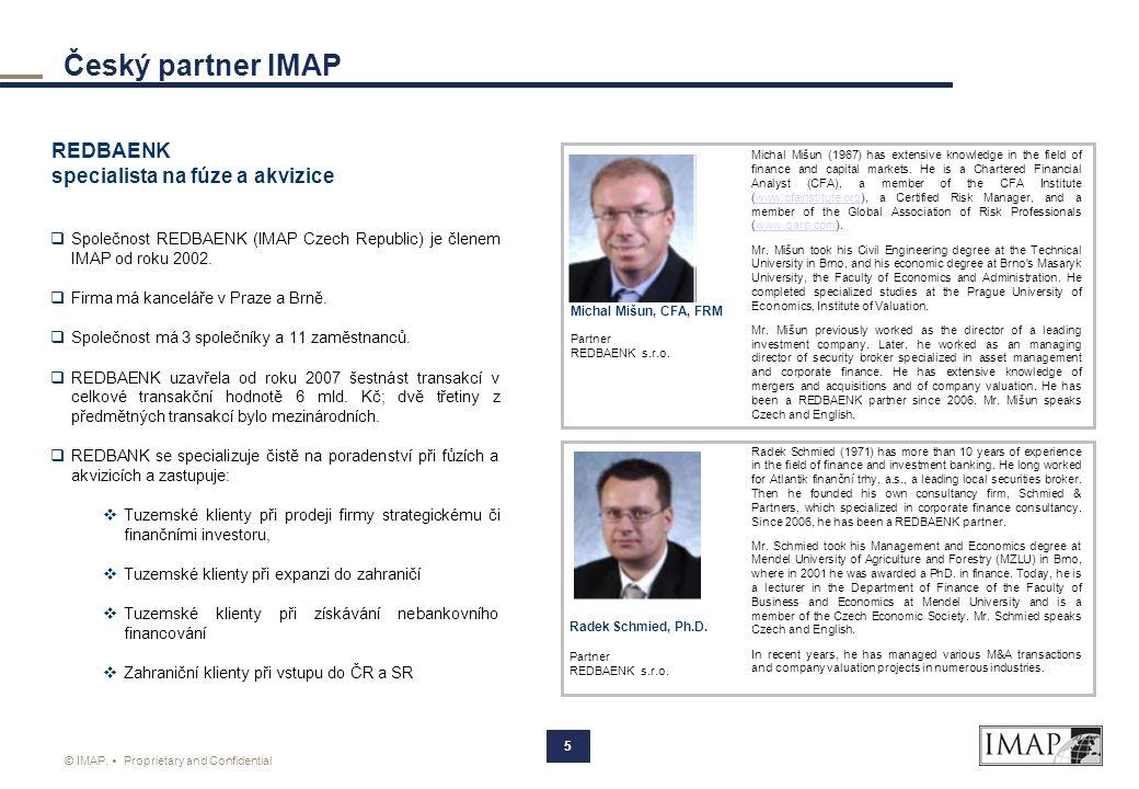 Český partner IMAP REDBAENK specialista na fúze a akvizice