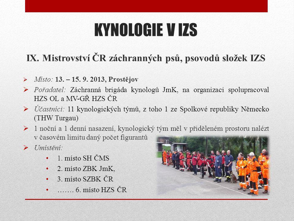 IX. Mistrovství ČR záchranných psů, psovodů složek IZS