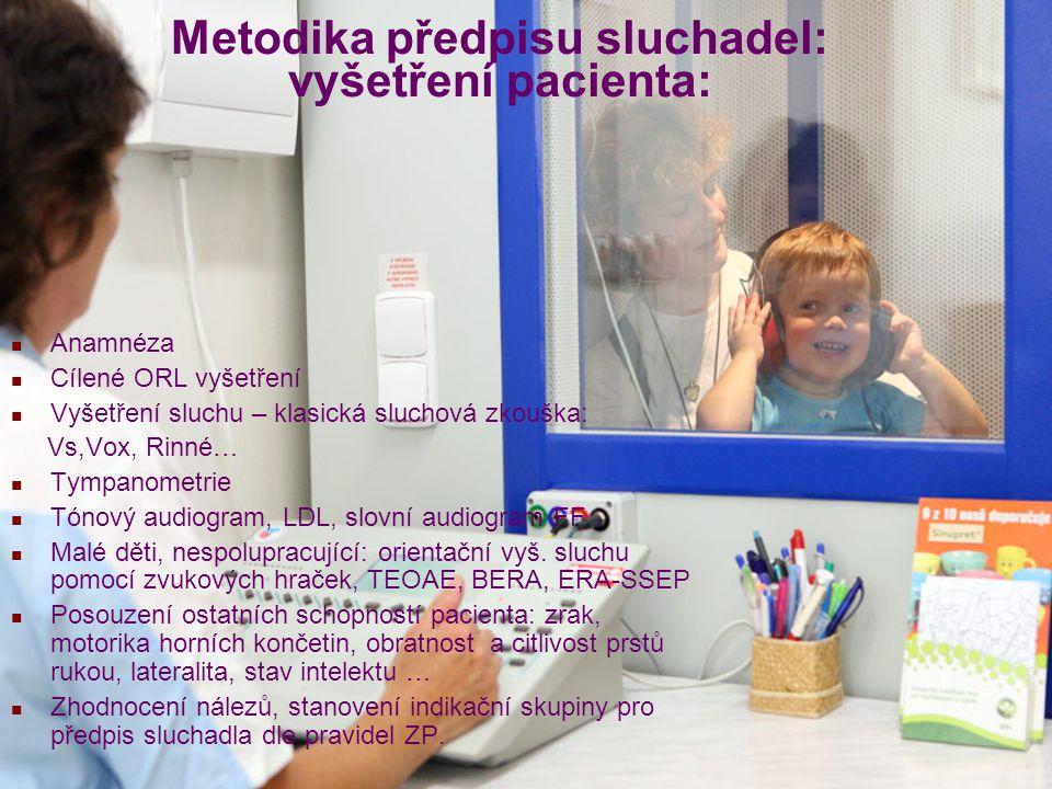 Metodika předpisu sluchadel: vyšetření pacienta:
