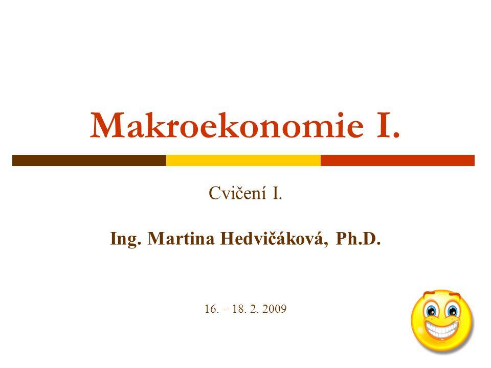 Cvičení I. Ing. Martina Hedvičáková, Ph.D. 16. – 18. 2. 2009