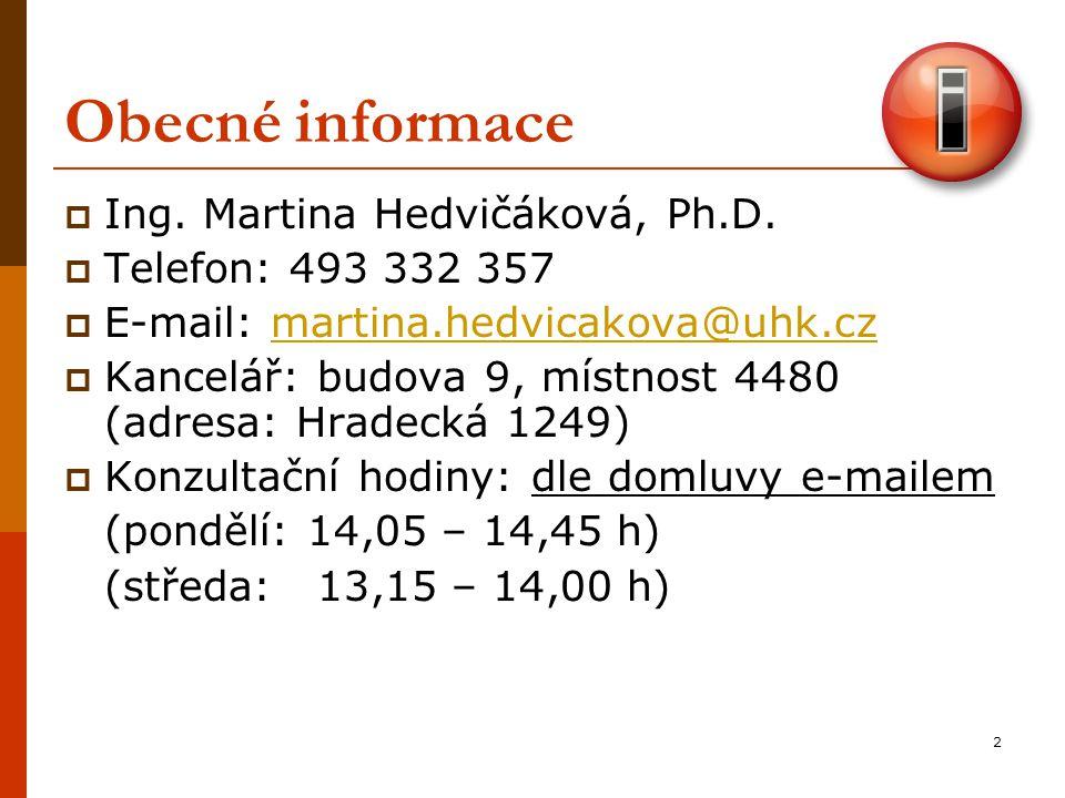 Obecné informace Ing. Martina Hedvičáková, Ph.D. Telefon: 493 332 357