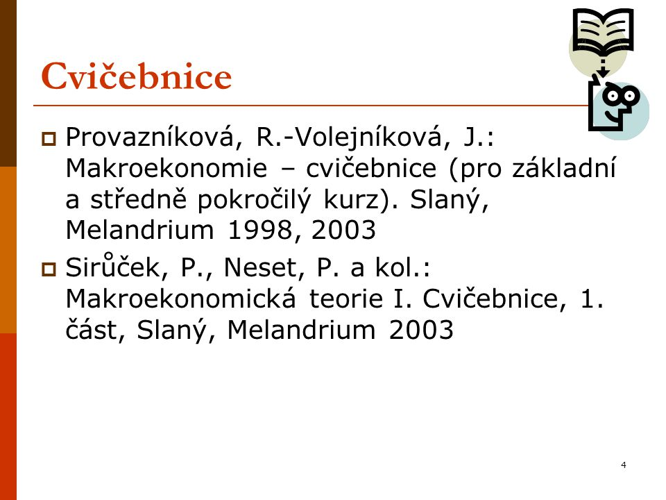 Cvičebnice Provazníková, R.-Volejníková, J.: Makroekonomie – cvičebnice (pro základní a středně pokročilý kurz). Slaný, Melandrium 1998, 2003.