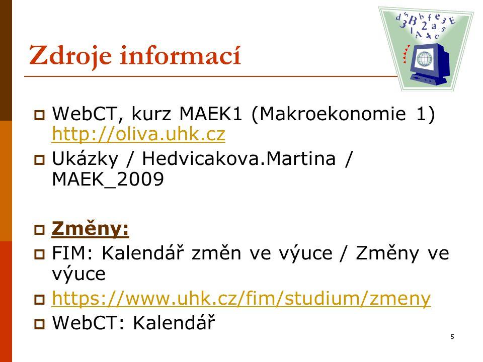 Zdroje informací WebCT, kurz MAEK1 (Makroekonomie 1) http://oliva.uhk.cz. Ukázky / Hedvicakova.Martina / MAEK_2009.
