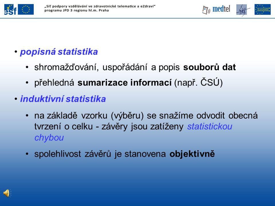 popisná statistika shromažďování, uspořádání a popis souborů dat. přehledná sumarizace informací (např. ČSÚ)