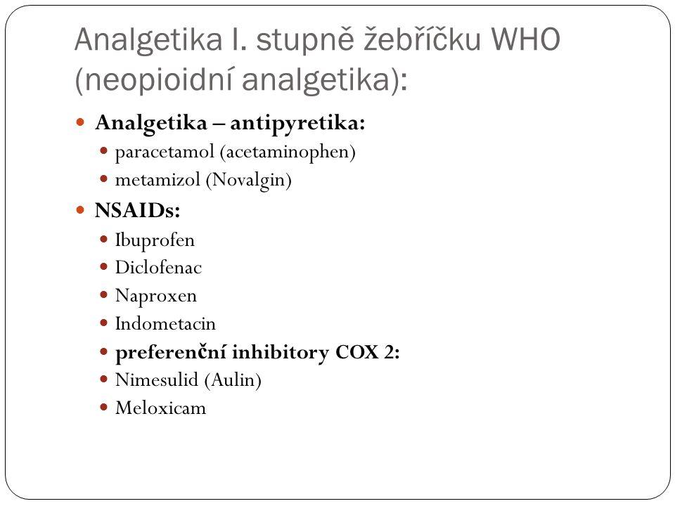 Analgetika I. stupně žebříčku WHO (neopioidní analgetika):