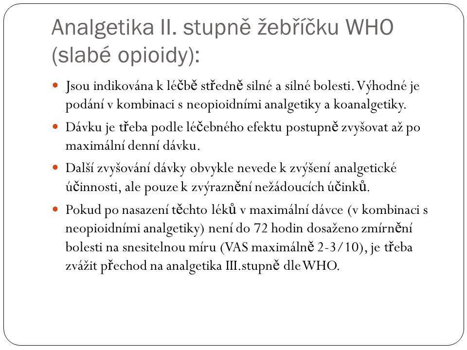 Analgetika II. stupně žebříčku WHO (slabé opioidy):